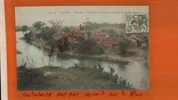 CPA TONKIN  - MONCAY  FRONTIERE CHINOISE RIVIERE DE TONG-HINH-Timbre Indo-Chine Cachet à Date Hanoi    NOV  2017 321 - Viêt-Nam
