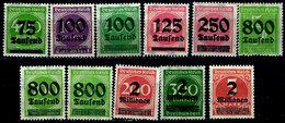 Germany 1923, #251,253,254,255,260,261,264,266,269,270,272,,Surchaged 1922-23 Stamps, Unused, Some Hinge Residue - Deutschland