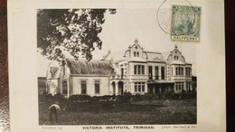 O) 1913 BRITISH COLONY - TRINIDAD AND TOBAGO, BRITANNIA SC 1 -A1 1/2p Green-HALF PENNY, THE ROYAL VICTORIA INSTITUTE-SCI - Postcards