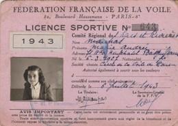 LICENCE FEDERATION FRANCAISE DE LA VOILE 1943 - Sports