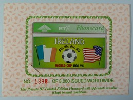 UK - BT - BTG272 - Ireland World Cup USA 1994 - Limited Edition - Mint In Folder - BT General Issues