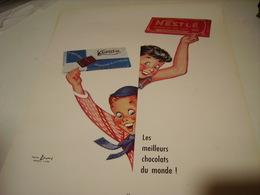 ANCIENNE PUBLICITE CHOCOLAT KOHLER ET NESTLE  1954 - Affiches