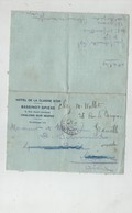Lettre Hôtel Cloche D'Or Bassinot Spiess Chalons Sur Marne Vallet Granville Août 1914 Duel Artillerie - Vieux Papiers