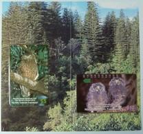 NORFOLK ISLAND - Boobook Owl - Set Of 2 - $5 & $10 - Limited Edition Collector Folder - Mint - Norfolk Island