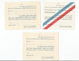 """LE MOUVEMENT """" CROIX DE FEU """" : 3 INVITATIONS A ASSISTER A UNE REUNION - Oude Documenten"""