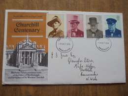 S055: FDC: CHURCHILL CENTENARY: Blenheim Palace. 4.5p, 5.5p, 8p, 10p. First Day Of Issue  -9 OCT 1974. Manchester. - FDC