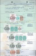 Lote De Cinco Recibos Selados Com 15 Selos Fiscais De Diversas Taxas. Receipts With Fiscal Stamps.Revenue. - Portugal