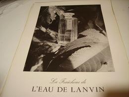 ANCIENNE PUBLICITE LA FRAICHEUR EAU DE LANVIN 1954 - Parfums & Beauté