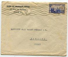 PARIS RUE BLEUE Env. Du 01/06/1939 Pour ITALIE Avec N°426 Exposition Internationale NEW YORK - 1921-1960: Période Moderne