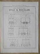 Année 1922 - Page Originale ARCHITECTURE INDUSTRIELLE  #15 - Plan  Berline Et Wagonnet De Mine - Cie DYLE BACALAN - Planches & Plans Techniques