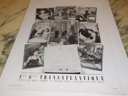 ANCIENNE PUBLICITE VOYAGE  TRANSATLANTIQUE 1950 - Publicités