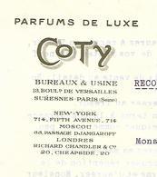Facture Lettre 1919 / PARIS / Parfums De Luxe COTY / Augmentation Tarifs / Taxe De Luxe - 1900 – 1949