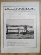 1922 - Page Originale ARCHITECTURE INDUSTRIELLE -   ( S Et O) TRANSBORDEUR Pont Roulant - DUBOIS & L LEPEU à Corbeil - Machines