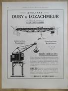 1922 - Page Originale ARCHITECTURE INDUSTRIELLE - PONTS ROULANTS Et GRUES - DUBY é LOZACHMEUR à Villeurbanne - Machines