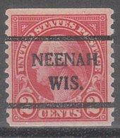 USA Precancel Vorausentwertung Preo, Bureau Wisconsin, Neenah 599-42 - Vereinigte Staaten