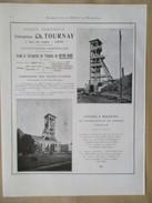 Année 1922 - Page Originale ARCHITECTURE INDUSTRIELLE  #15 - Chassis à Molettes Mine De Micheroux - Cie C TOURNAY  Liège - Máquinas