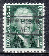 USA Precancel Vorausentwertung Preo, Locals Wisconsin, New Lisbon 841 - Vorausentwertungen
