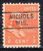 USA Precancel Vorausentwertung Preo, Locals Wisconsin, Nichols 729 - Vorausentwertungen