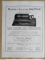 1922 - Page Originale ARCHITECTURE INDUSTRIELLE -  MACHINE à Calculer  DACTYLE - Machines