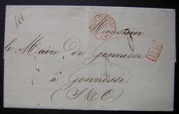 1844 Cachet Rouge Bureau Central Et PP (port Payé) Sur Lettre Pour Le Maire De Gonnesse, Cachet D'assurance Au Revers - 1801-1848: Précurseurs XIX