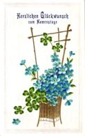Namenstag, Blumen, Prägekarte, 1912 - Ohne Zuordnung