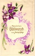 Namenstag, Blumen, Prägekarte, Um 1911 - Ohne Zuordnung