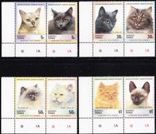 TUVALU - NANUMEA 1985 «Cats - Se-tenant Pairs» MNH - Mi# 45-52 Complete Set - Tuvalu