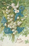 Fleurs : Muguet, Pensée Et Colombe  : Carte Illust. Gaufrée - ( Amitié Sincère) - Bloemen