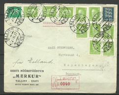 "Estland Estonia 1937 Registered Commercial Cover Firmenbrief Eesti Nööbitööstus ""Merkuur"" To Denmark - Estonia"