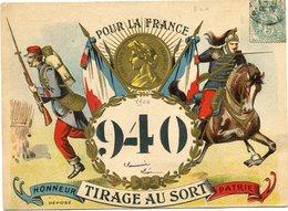 """FRANCE CARTE POSTALE """" POUR LA FRANCE 940 TIRAGE AU SORT HONNEUR PATRIE """"      RARE - Marcophilie (Lettres)"""