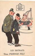 D-18-3760 : VICHY.  CARTE PUBLICITAIRE. VICHY SOURCE GRANDE GRILLE. DEUX PERNODS FILS. HUMOUR. - Vichy