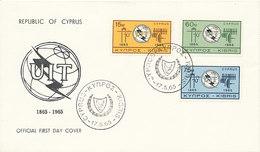 DC-1333 - FDC 1965 - 100 YEARS TELECOMMUNICATION ITU - UIT - MORSE TELEPHONE TELEGRAPH SATELLITE - CYPRUS - Telecom