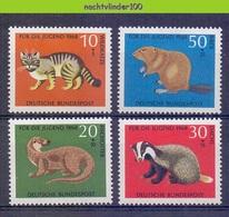 Mwe2676 FAUNA ZOOGDIEREN DAS BEVER KAT VISOTTER CAT BEAVER FISHOTTER BADGER MAMMALS DEUTSCHE BUNDESPOST 1968 PF/MNH - Briefmarken