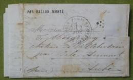 Pli Ballon Monté, Cachet Du 2 Novembre 1870 Pour Villebertain Par Isle-Aumont (Aube), Timbre Découpé - Marcophilie (Lettres)
