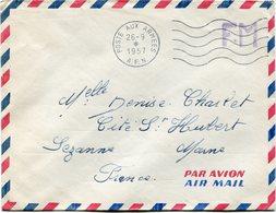 ALGERIE LETTRE PAR AVION F. M. DEPART POSTE AUX ARMEES 26-9-1957 A. F. N POUR LA FRANCE. - Algeria (1924-1962)