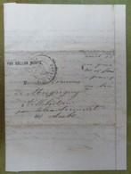 Pli Ballon Monté, Cachet Du 31 Décembre 1870 Pour Villebertain Par Isle-Aumont (Aube), Timbre Découpé - Marcophilie (Lettres)