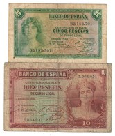 Spain Lot Set 5 & 10 Pesetas 1935 - Collections