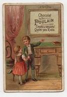 CHROMO Chocolat Poulain Enfants Bureau Cadre Publicité Affiche - Poulain