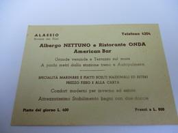 Carte Commerciale/Albergo Nettuno E Ristorante Onda/ALASSIO/Riviera Del Fiori/ITALIE/ Vers 1950  CAC133 - Otros