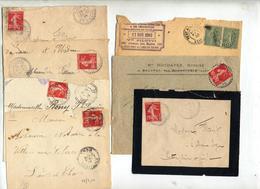 7 Lettre Cachet Perlé Sur Semeuse à Voir - Postmark Collection (Covers)