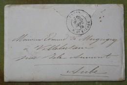 Pli Sous Enveloppe Voyagée En Ballon Monté, Cachet Du 24 Septembre 1870 Pour L'Aube, Sans Timbre, Attéri En Belgique - Guerre De 1870