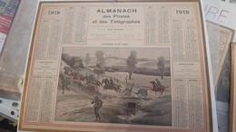 Calendrier Almanach 1918 De L'herault 34 Avec Ces 2 Feuilles Au Dos Carte Des Chemin De Fer Et Comunes De L'lheraut - Calendriers