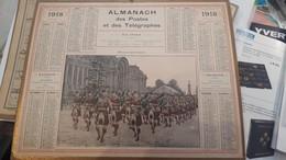 Calendrier Almanach 1918 De L'herault 34 Avec Ces 2 Feuilles Au Dos Carte Des Chemin De Fer Et Comunes De L'lheraut - Tamaño Grande : 1901-20
