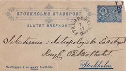 Slutet Brefkort Stockholm 1912 Stockholms Stadspost Suède Sweden - Postal Stationery