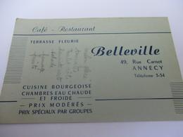 Carte Commerciale/Note/ Café - Restaurant/ Cuisine Bourgeoise/BELLEVILLE/rue Carnot/ANNECY/ Vers 1950  CAC137 - Factures & Documents Commerciaux