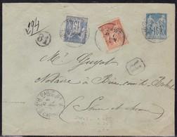 France, Paris - Yvert N° 94 Et 101 En Complement D'entier Sur LR De 1900 - Postmark Collection (Covers)