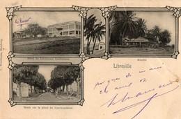 Gabon. CPA. LIBREVILLE. Multi Vues. Hotel Lieutenant Gouverneur, Marché, Route Sur La Place Du Gouvernement. 1907. - Gabon