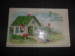 Lutin  Kabouter  Champignon  Paddestoel - Carte Brillante - Cartes Postales
