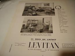 ANCIENNE PUBLICITE MAGASIN DECO MEUBLE LEVITAN 1953 - Advertising