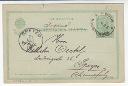 M. Kamermann Rustchuk (Ruse) Preprinted Postal Stationery Postcard Travelled 1906 To Speyer D B181101 - Postal Stationery